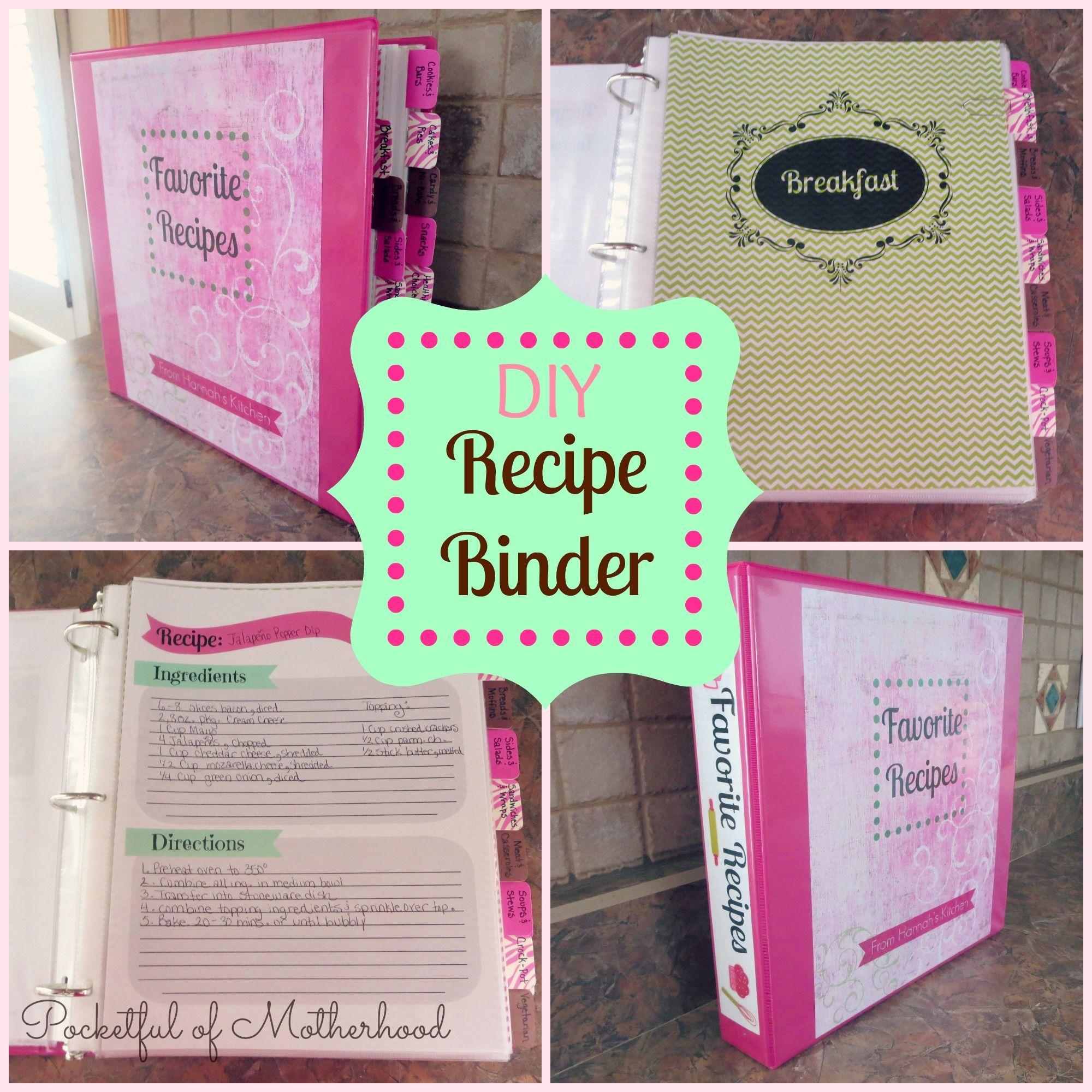 Diy recipe binder recipe binders homemade cookbook