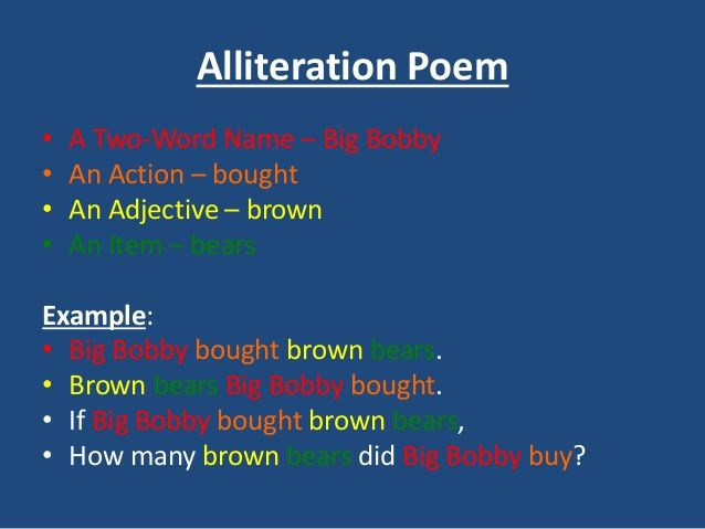 Alliteration Poem Example Teaching English Pinterest