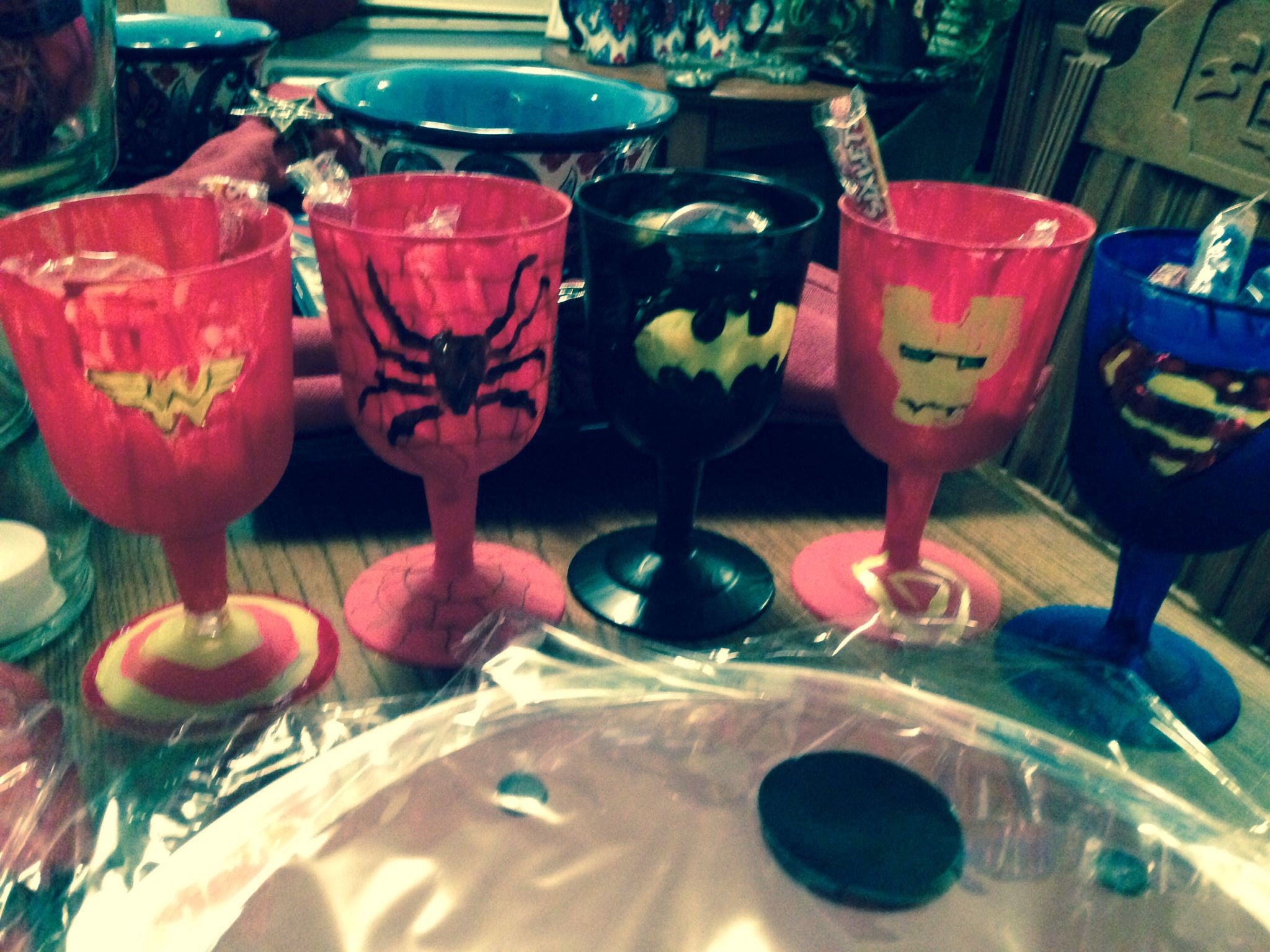 Super Hero Fun Awards for staff using plastic wine glasses and some paint