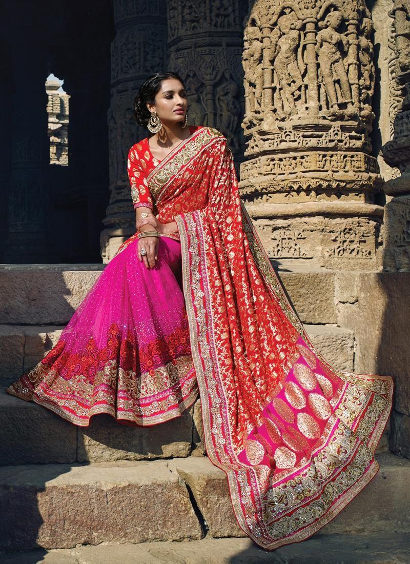 Phenomenal hot pink and red designer saree the girly pink