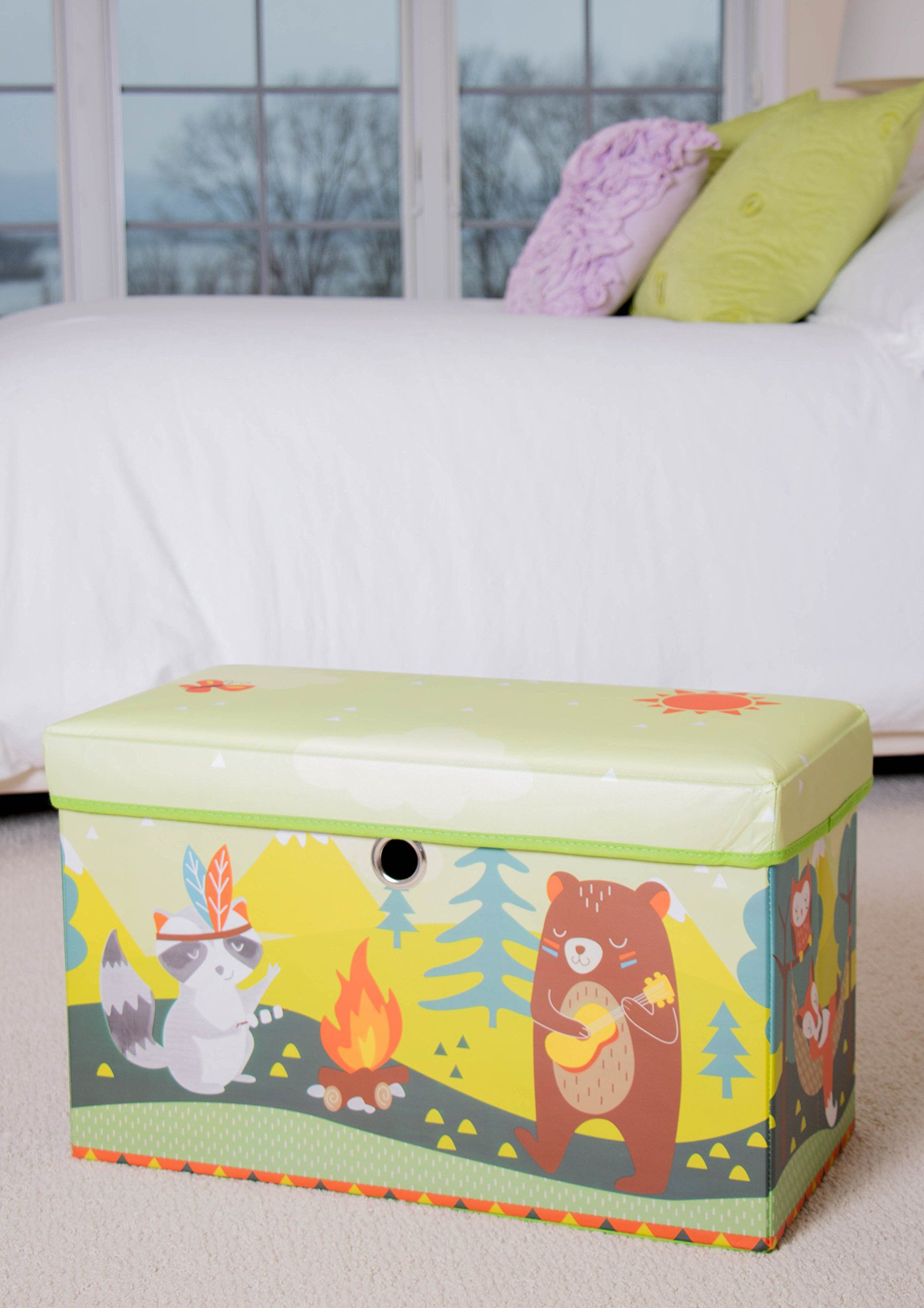 Cute Animal Camping Collapsible Storage Organizer By Clever Creations Storage Ottoman For Bedroom And Living Game Room Furniture Storage Ottoman Book Clothes