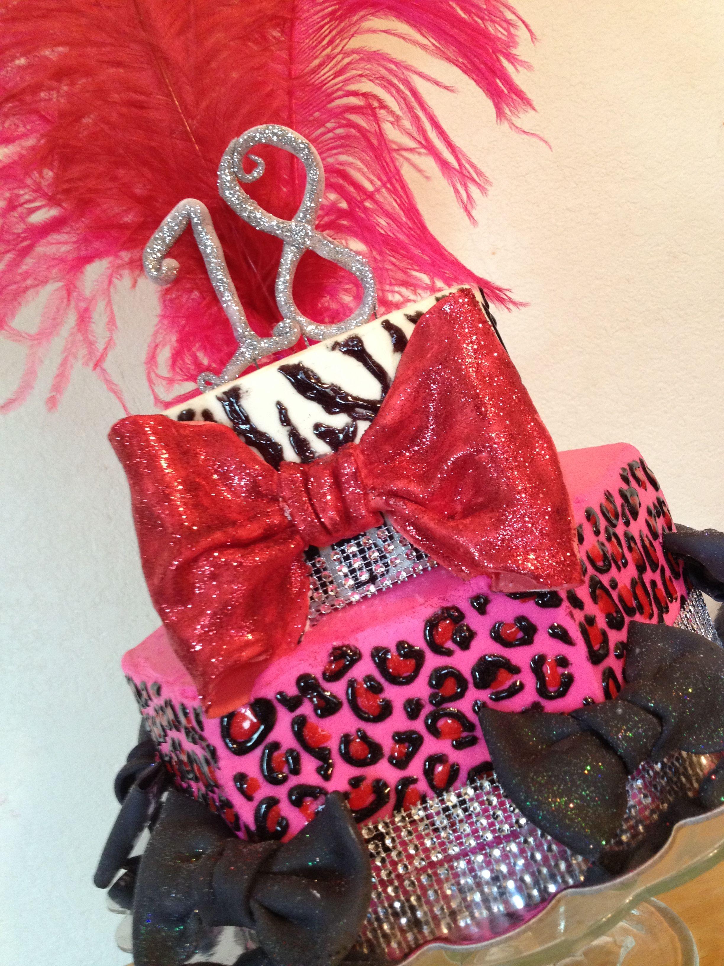 Red pink black with leopard print zebra print 18th birthday