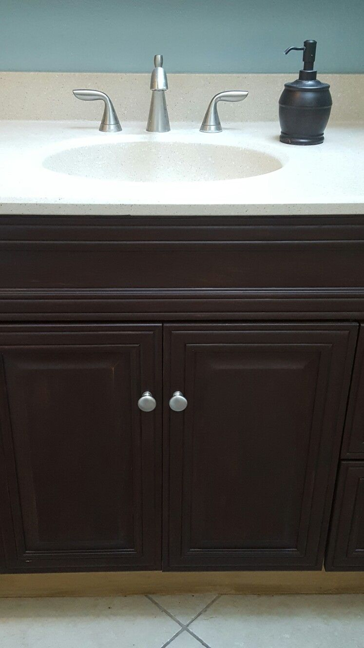 Dark Brown Chalk Paint Did Wonders For My Light Cabinets Painting Bathroom Cabinets Painted Vanity Bathroom Painting Bathroom