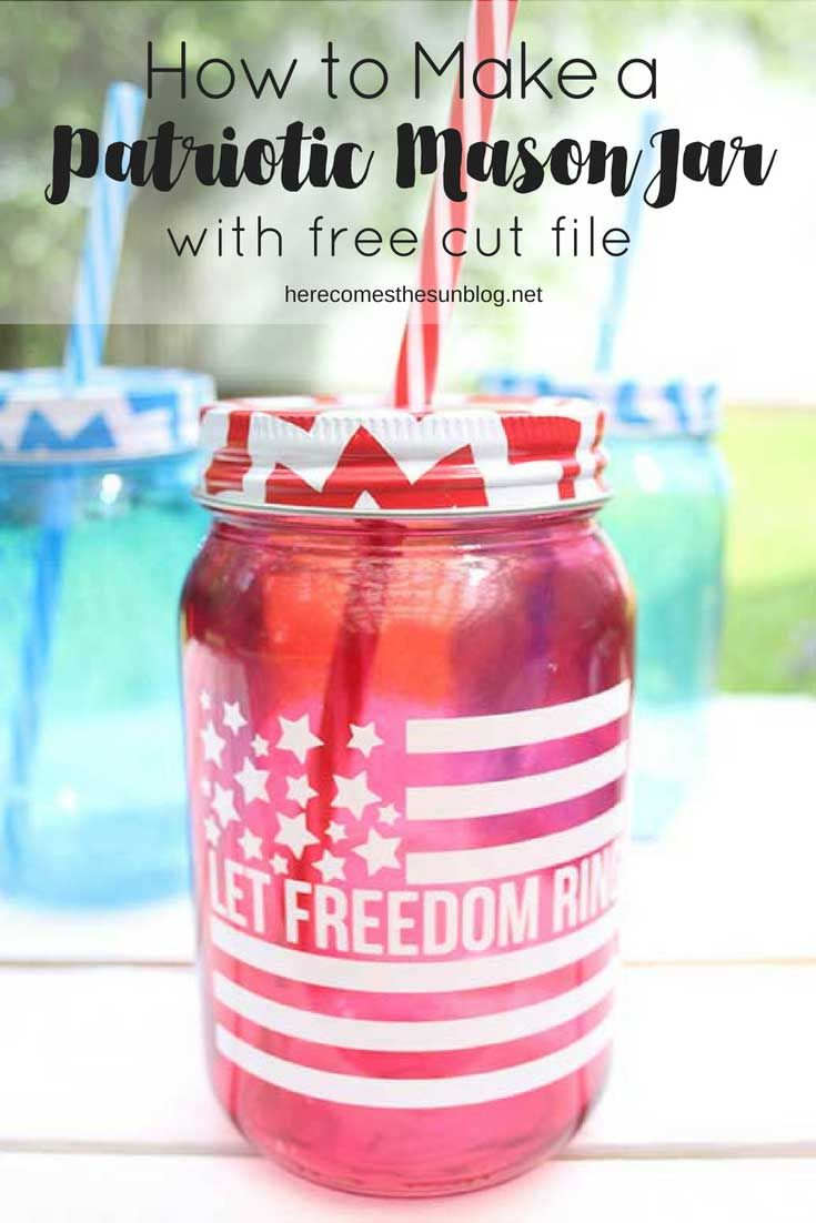 How to make a diy patriotic mason jar red white and blue vinyl