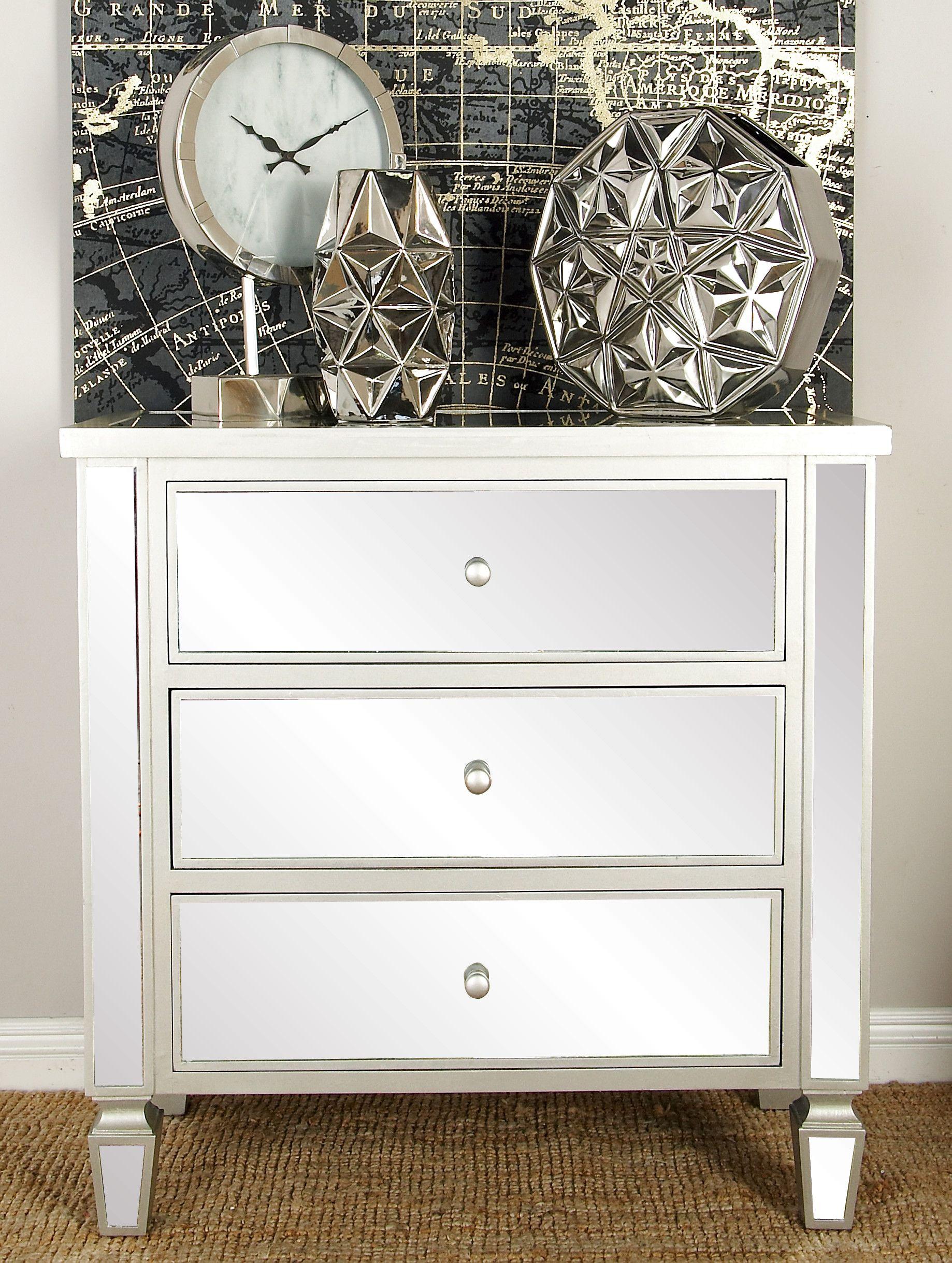 Decmode 34 X 35 Cream Wood Glam Chest Walmart Com Decmode Dresser As Nightstand Three Drawer Chest [ 2438 x 1838 Pixel ]