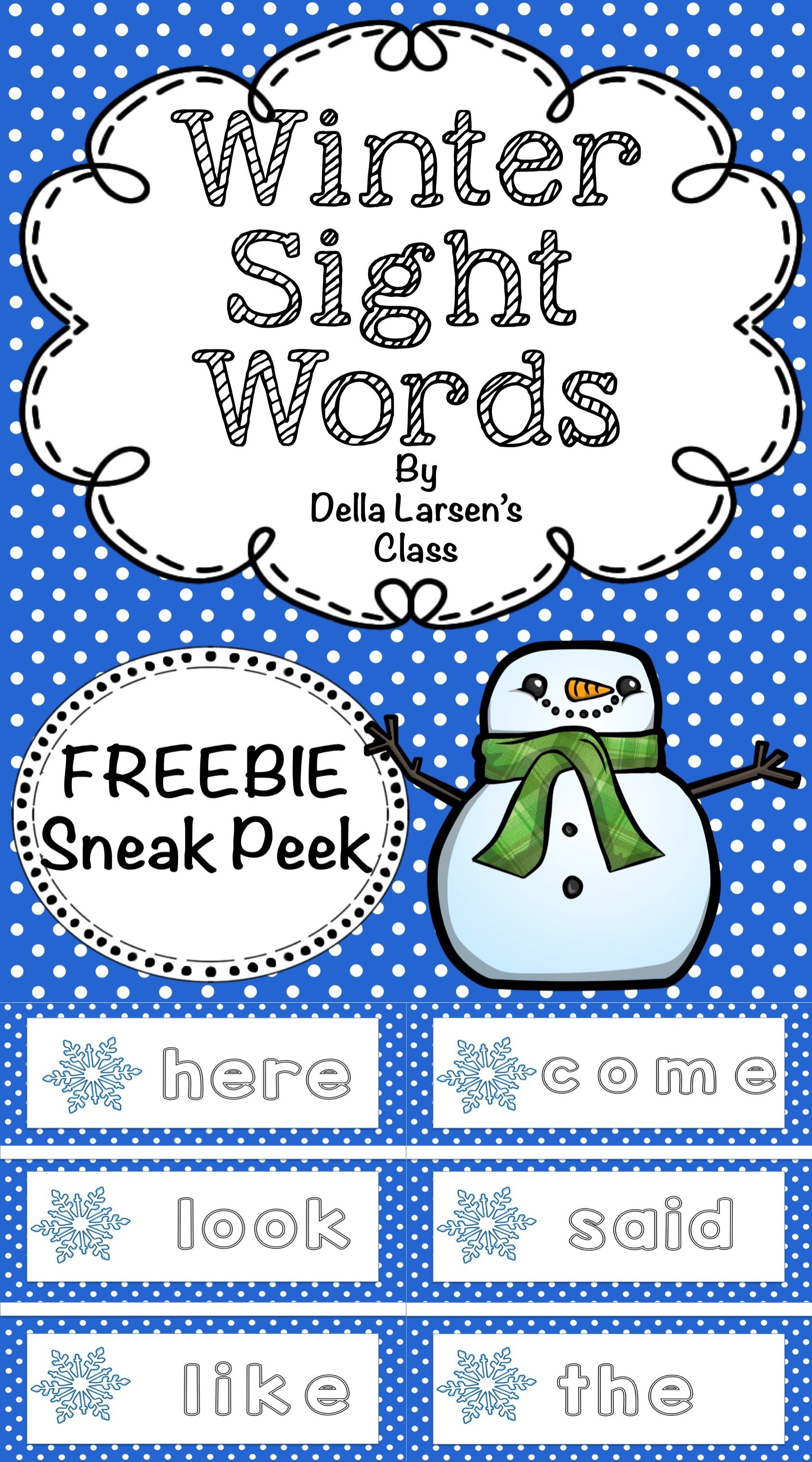 Freebie Winter Sight Words
