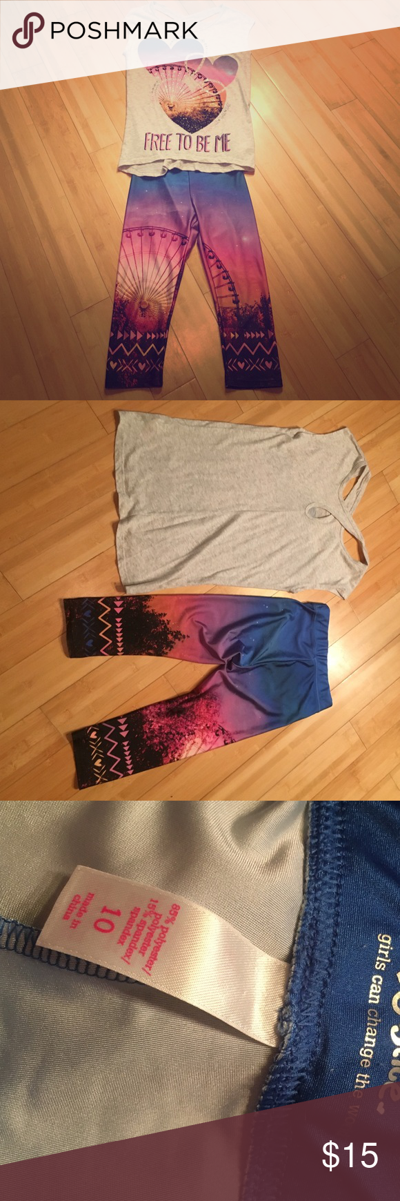 Justice matching set This has never been worn. No rips or stains. Perfect condition. Both top and bottoms are stretchy. Very cute! Justice Matching Sets