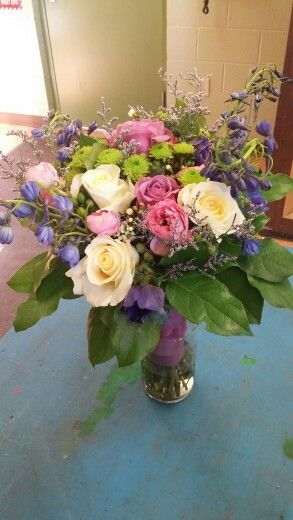 wedding bouquet i made for a competition #roses #purple #floral #arrangement #pink #white