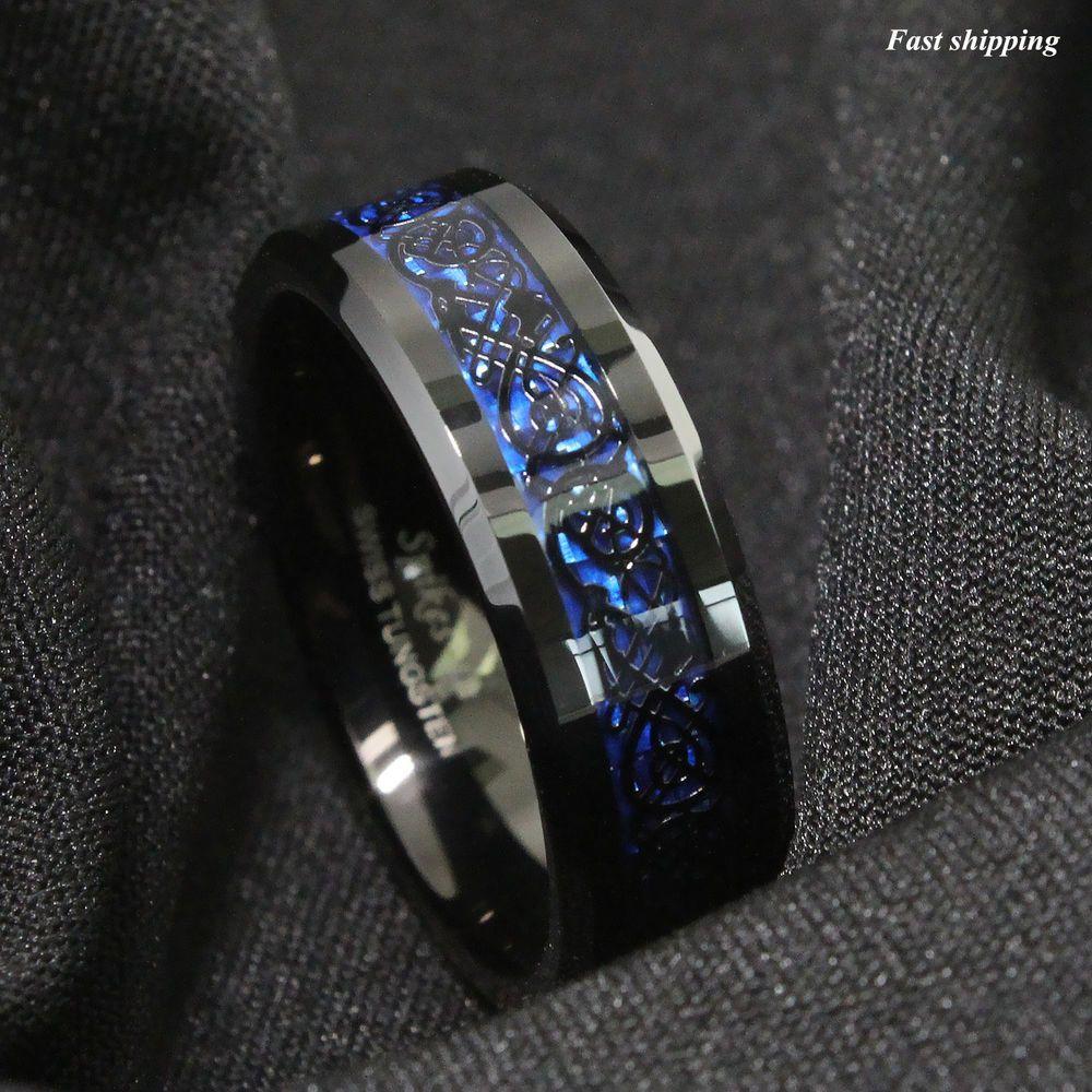 8 6mm Tungsten Carbide Ring Black Celtic Dragon Blue Carbon Fibre