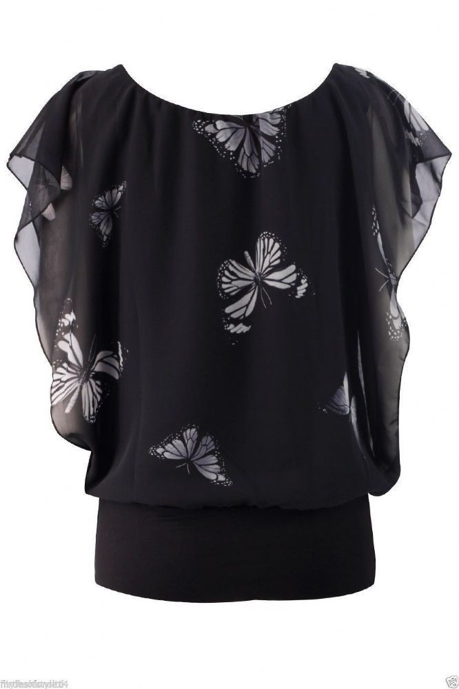 69b33d5fd4 Womens Butterfly Print TopBaggy Chiffon Oversized BlouseLadies Casual Tops  Composition 100 Polyester Available in Black Cream and Nude Available in S