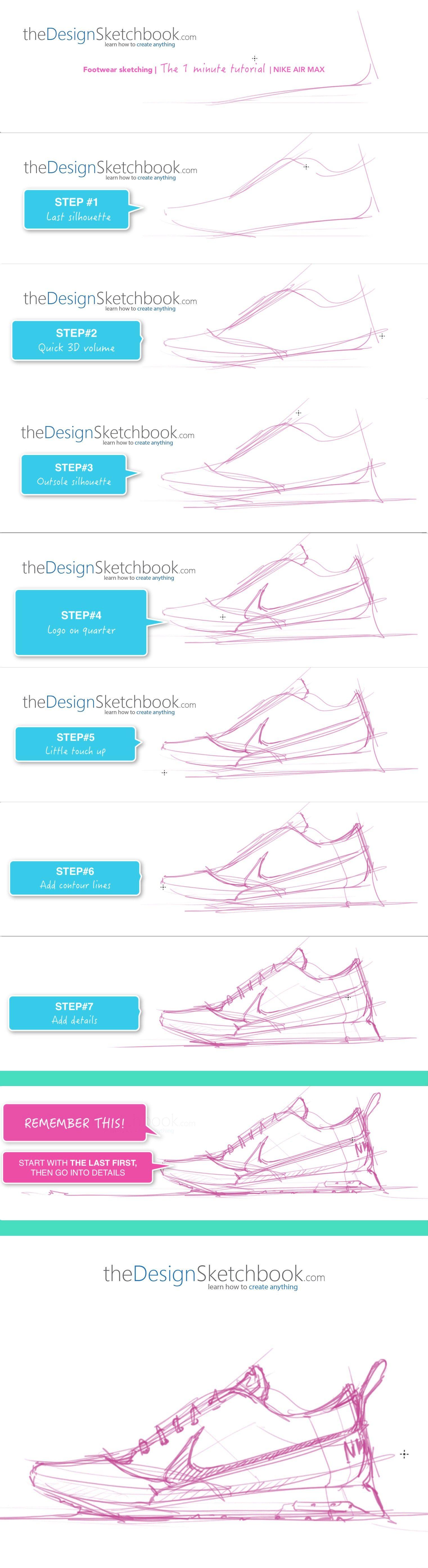 Nike Air Max Design sketching - The design sketchbook - the 1 minute tutorial More