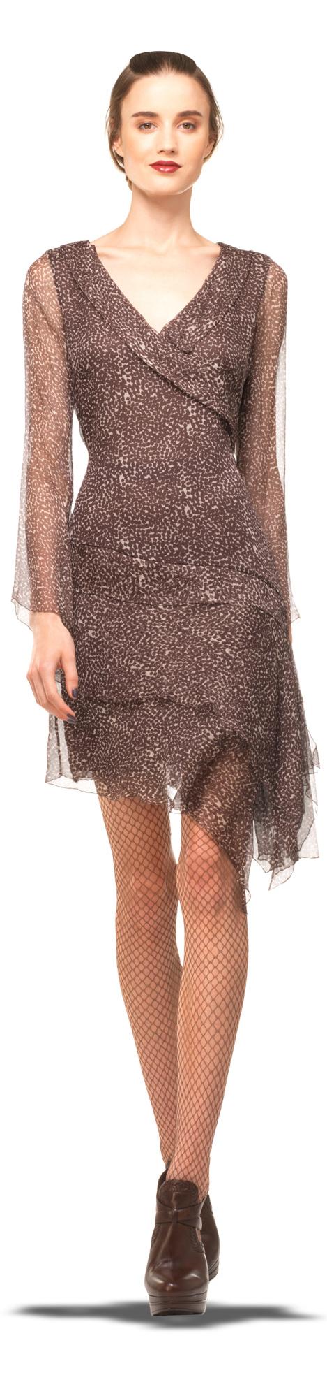 Womenus fashion sleeved dress red carpet fashion and brown
