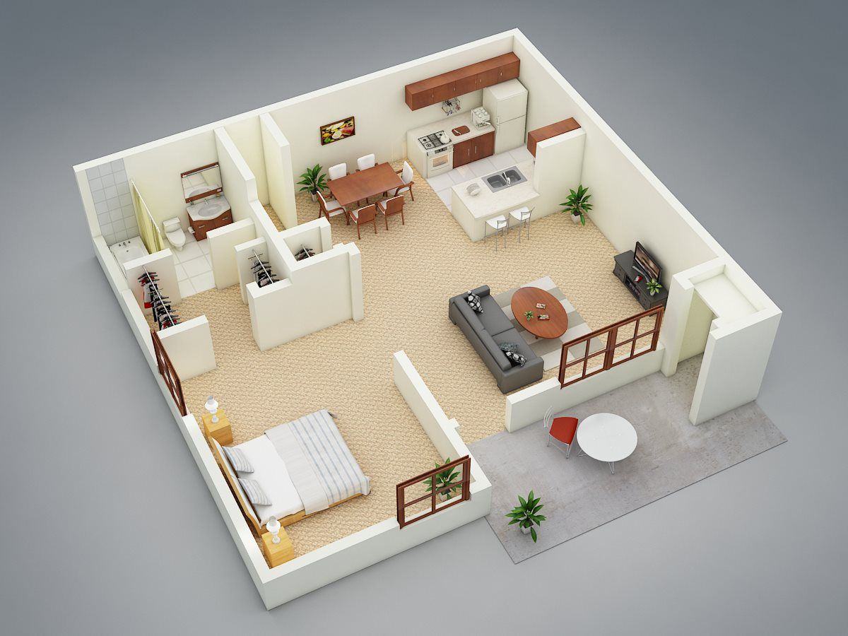 1 Br 1 Ba Garden Floor Plan 1 750 Sq Ft House Layout Plans