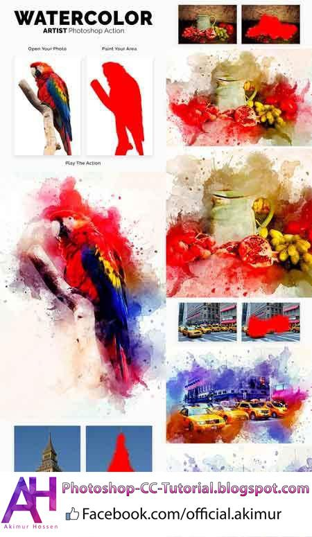Watercolor Artist Photoshop Action Photoshop Abr Photoshop Pat