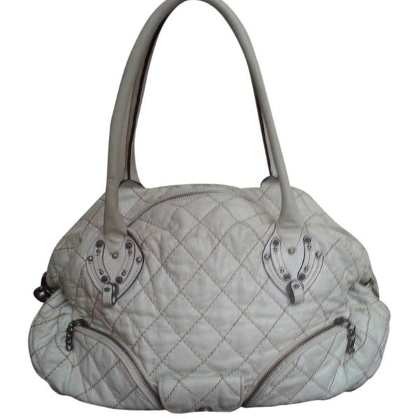 Pre-owned Juicy Couture Rare Vintage Quilted Leather Purse Shoulder... ($200) ❤ liked on Polyvore featuring bags, handbags, white, vintage purse, man shoulder bag, shoulder strap handbags, vintage hand bags and handbags purses