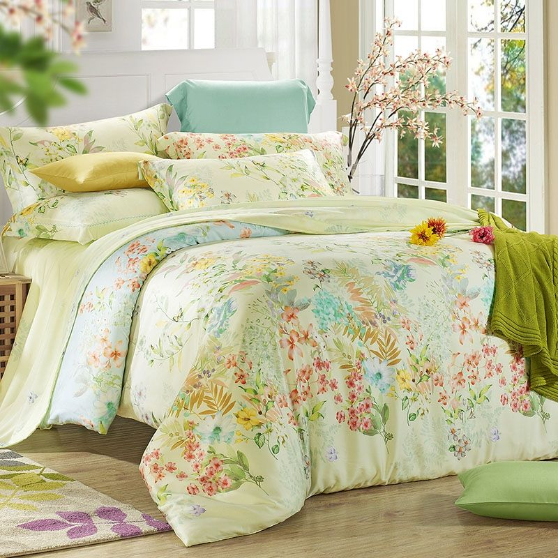 Pale Yellow Lime Blue And Red Country Chic Vintage Tropical Plant Nature Flower 100 Tencel Full Queen Size Be Bedding Sets Yellow Bedding Sets Bedroom Colors