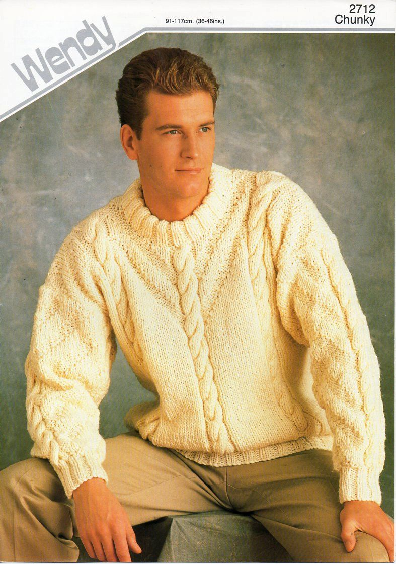 Mens Chunky Cable Sweater Knitting Pattern Pdf Bulky Mans Cable Crew Neck Jumper 36 46 Inch Chunky Men Sweaters Pattern Cable Sweater Sweater Knitting Patterns