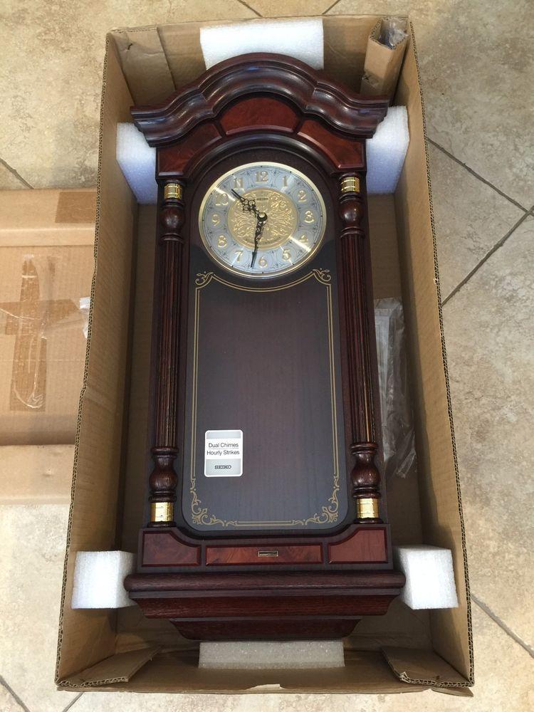 Seiko Wall Pendulum Clock W Dark Brown Solid Oak Case Dual Chimes Hourly Strikes Pendulum Wall Clock Pendulum Clock Clock