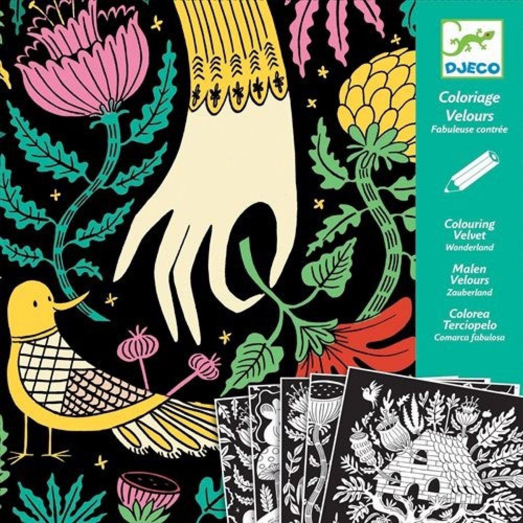 Djeco 5 Fluwelen Kleurplaten Wonderland Dj09626 Ilovespeelgoed Nl Wonderland Kinderkleurplaten Kleurplaten