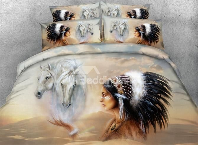 Horse And American Indian Chief Print 4 Piece Duvet Cover Sets