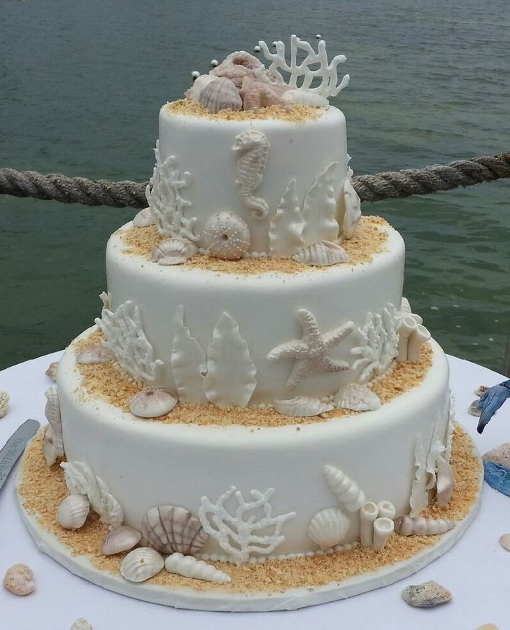 Beach Themed Wedding Cake by Graceful Cake Creations via Flickr