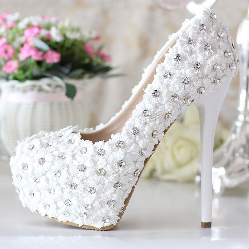 Women Handmade High Heels White Wedding Shoes Lace Flowers Rhinestone Pumps Sys-186