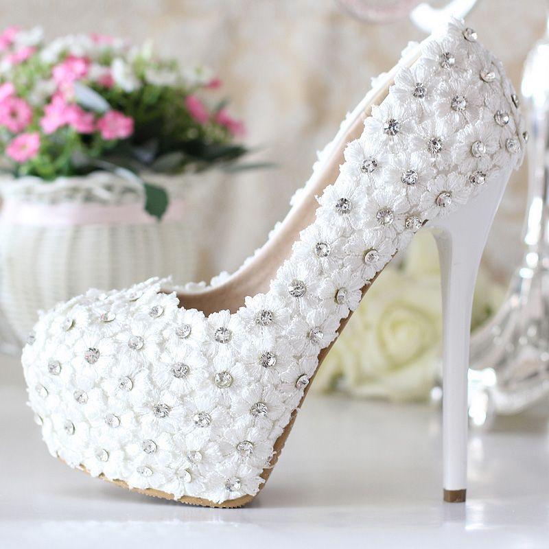women handmade high heels white wedding shoes lace flowers rhinestone pumps sys 186