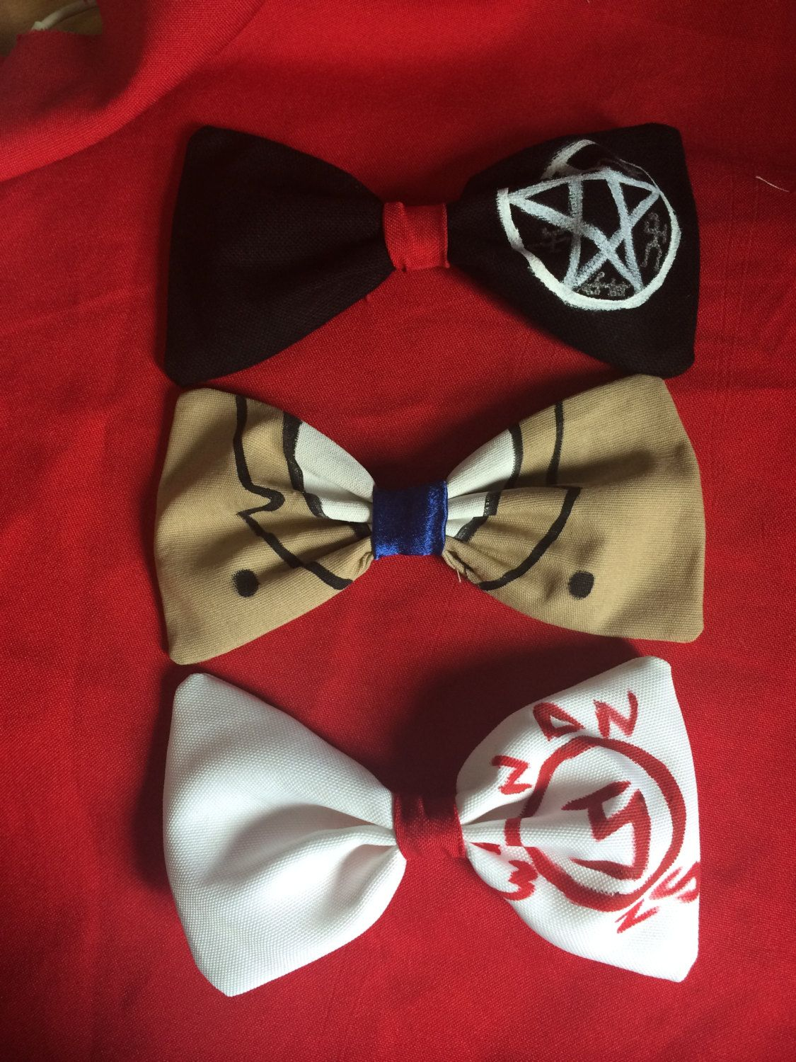 Set of 3 Supernatural Bows - Castiel outfit and Symbols by bowsbycarmensies on Etsy