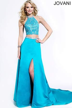 Turquoise Lace and Satin Dress 25619