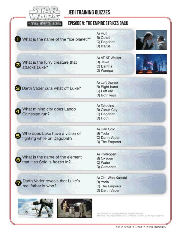 Jedi Training Quiz Star Wars