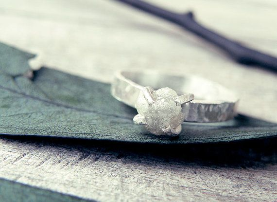 White Grey Diamond Ring Raw By Mismundos