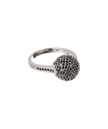 Another great find on #zulily! Sterling Silver & Black Cubic Zirconia Micropavé Dome Ring #zulilyfinds