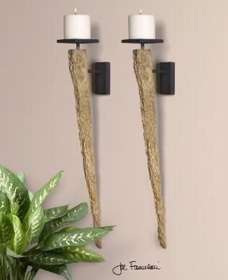 Wall Candle holders w/natural wood tone finish!