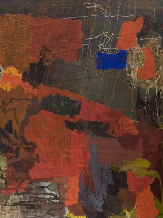 Artist  Per Kirkeby (born 1938)  Title  The Siege of Constantinople  Date 1995  MediumOil on canvas  Dimensionssupport: 4016 x 3613 mm  Collection  Tate  Acquisition Purchased 1998  Reference  T07460  Photo: © Tate, London 2012'