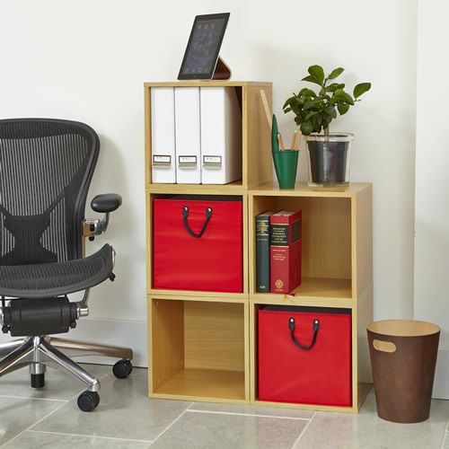 Home Office Oak Modular Storage Cube With Large Red Baskets
