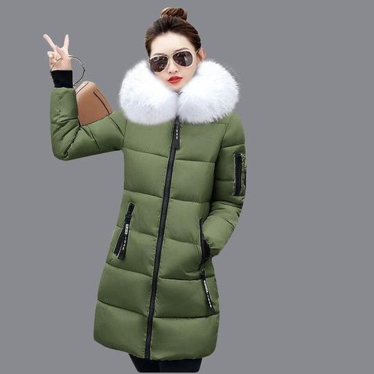 Women/'s Winter Down Coat Thick Long Cotton Parka Hooded Warm Jacket Zipper Zsell