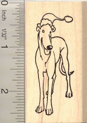 Santa Greyhound dog rubber stamp H11115 WM Christmas
