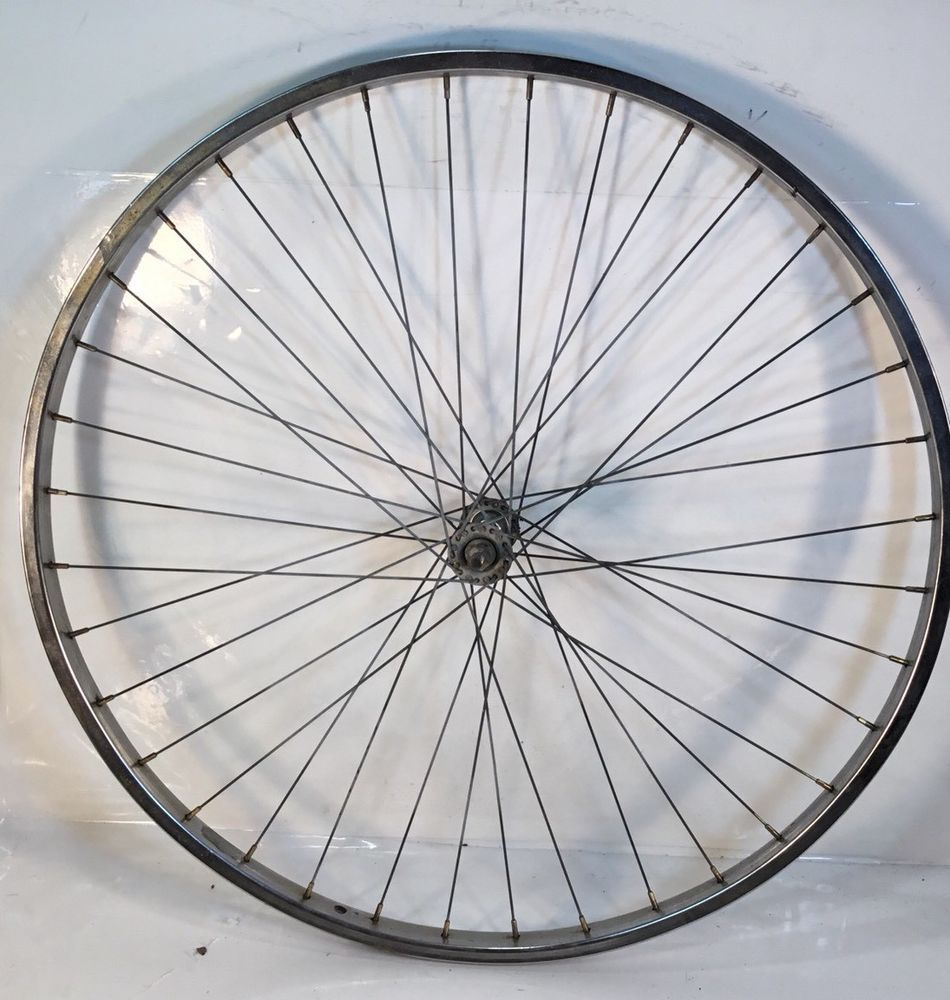 Front 26 X 1 3 8 Vintage Wheel 36 Hole Chrome Bicycle 3 Spd Bike