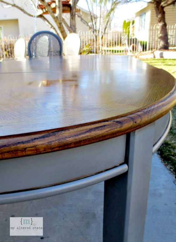 Refinishing Kitchen Table DIY: Refinish a dining table. think iu0027ll do this to our honey blonde table  (I loathe the current color). I love her color of the legs, but iu0027ll do the  top ...