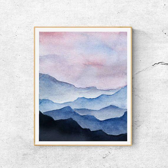 Mountains Fine Art Print Contemporary Art Mountain Painting