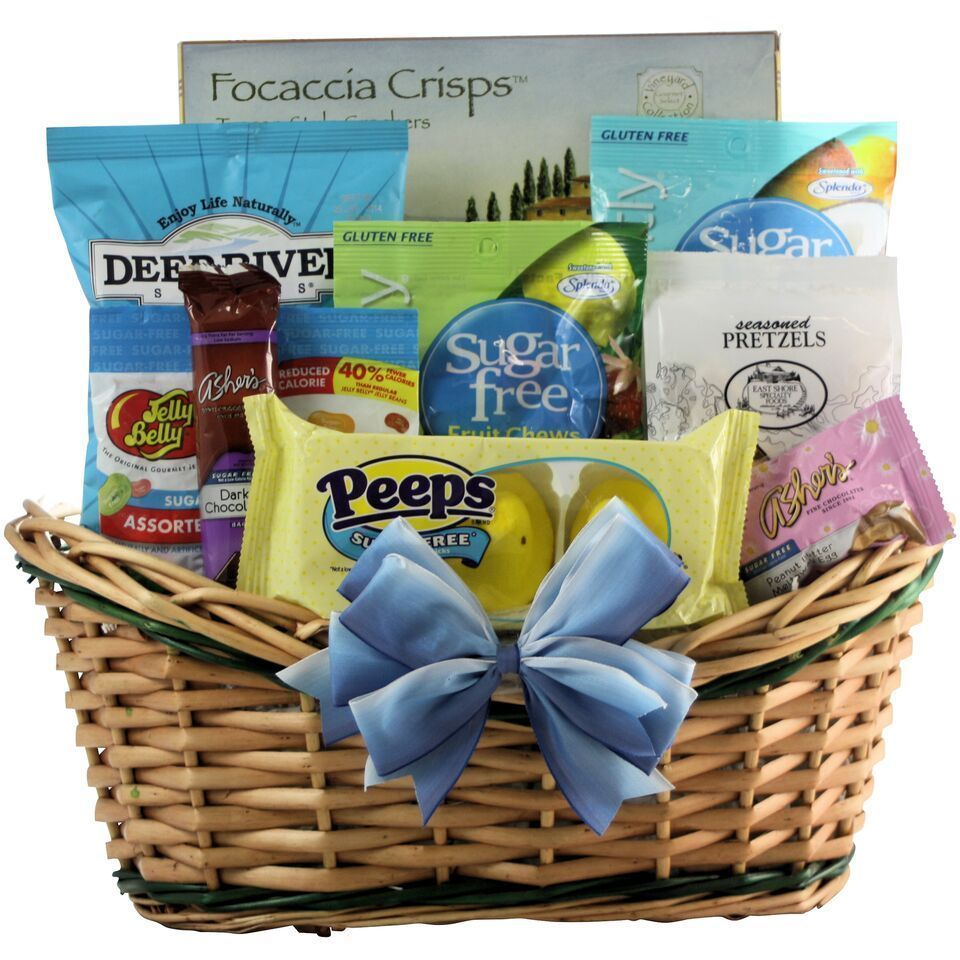Healthy easter wishes gourmet sugar free gift basket yellow gourmet food baskets for less easter gift negle Image collections
