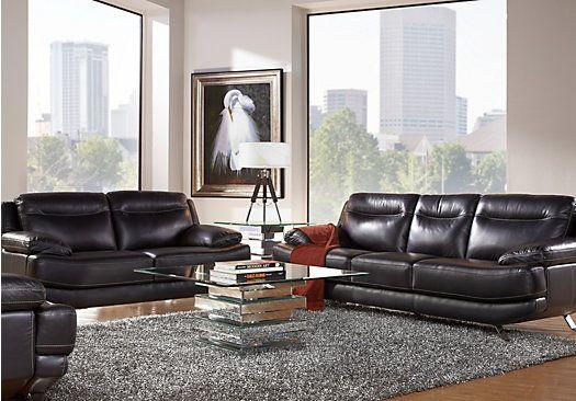 Sofia Vergara Castilla Black Leather 3, Black Leather Living Room Set