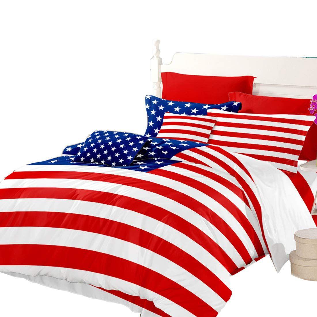 Oliven American Flag Bedding Sets Full Size Blue Red Flag