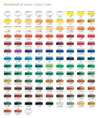 Royal Talens Rembrandt Oil Paint Printed Colour Chart Rembrandt Paint Color Chart Paint Charts