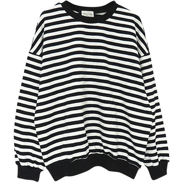 cb03ac5b47f832 Black Stripe Drop Shoulder Long Sleeve Sweatshirt ( 37) ❤ liked on Polyvore  featuring tops