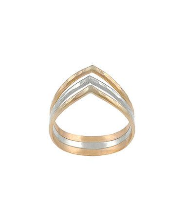 This Two-Tone Chevron Ring by Brinley Co. is perfect! #zulilyfinds