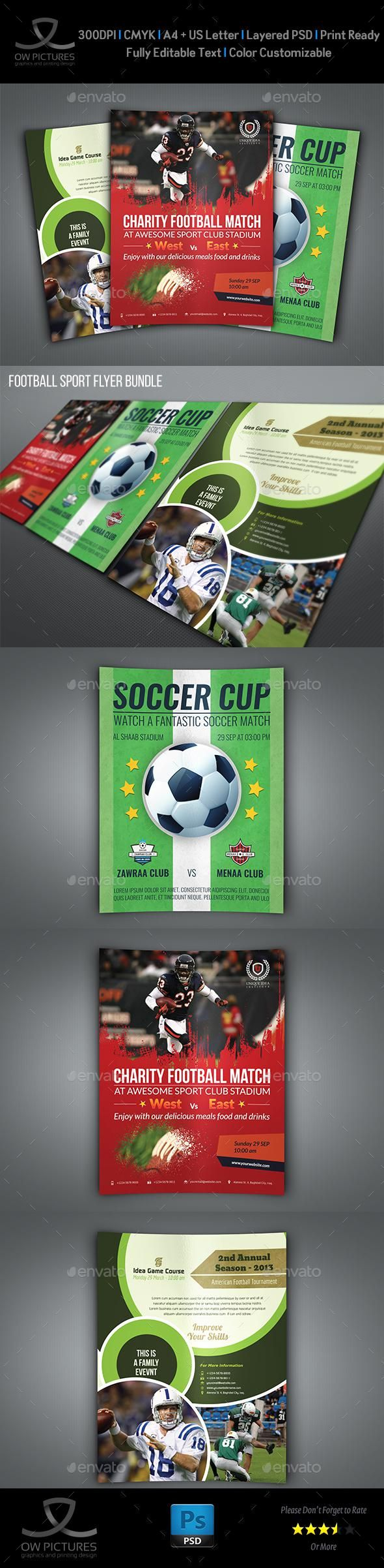 Football Soccer Sport Flyer Bundle Template Sport Poster Design Sports Flyer Sport Soccer