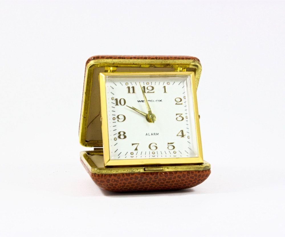 Vintage Travel Alarm Clock By Westclox Wind Up Mechanical