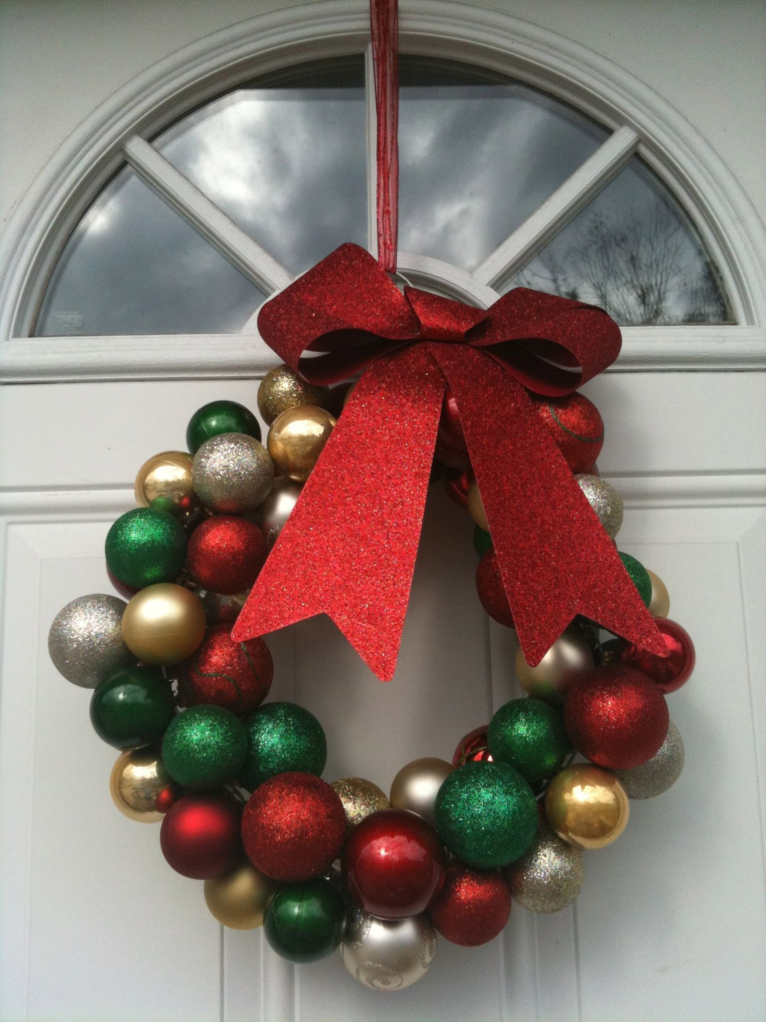 Dollar Store Ornaments And Wire Coat Hanger Holiday