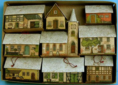 Early German Christmas Village Set From The Erzgebirge Glitter